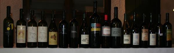 Le bottiglie assaggiate