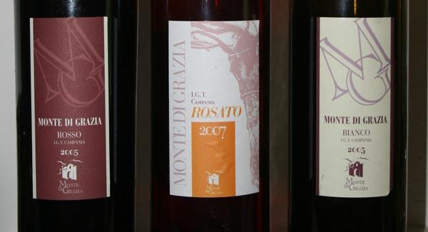 I vini degustati di Monte di Grazia bianco e rosso 2005 rosato 2007
