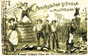 Manifestazioni dei vignaioli nel 1907 a Montpellier